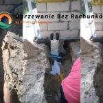 Nasze wprowadzenie do budynku rur dolnego źródła idących z studzienki rozdzielaczowej nad ławą fundamentową, wyizolowane i zabezpieczone termicznie. Za ścianą